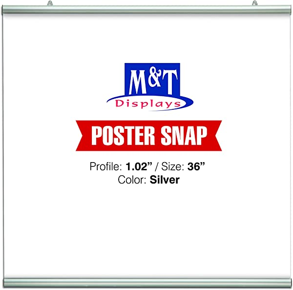 DisplaysMarket Poster Snap Set For 36 Poster Width 1 02 Silver Anodized Aliminum