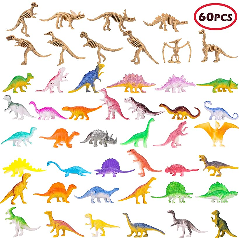 BeYumi Mini Dinosaur Figure, 60 Different PCS of Vinyl Plastic Dinosaur Toys Set, 39 PCS Little Dino Bones Fossils + 12 PCS Dinosaur Skeleton + 10 PCS Colorful Dinosaur, Gift Pack for Party Favors