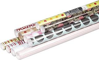 Clairefontaine 211425AMZC - Un carton de 10 rouleaux papier cadeau Excellia 2mx0m70, motifs assortis aléatoires 80g