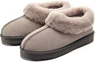 Leather Moccasin Slippers for Women, Suede Faux Fur Lined Anti-Skid Slip On Cozy House Shoes, Fluffy Fuzzy Winter Indoor Outdoor Snow Bootie Boots