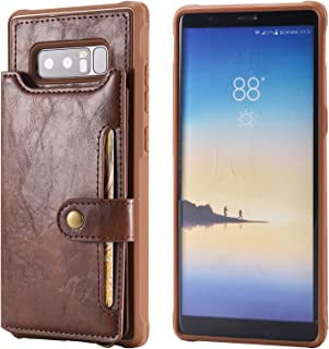 Samsung Galaxy Note 8 Case Wallet Leather,Kickstand Protective Card Holder Magnetic Snap Wrist Strap Durable Cover Shell Girl Boy Men Women-Coffee