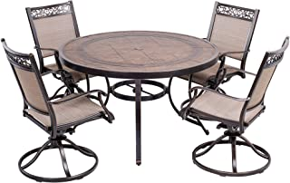 dali 5 Piece Outdoor Dining Set Patio Furniture, Aluminum Swivel Rocker Chair Sling Chair Set with 48 inch Round Crafttech Top Aluminum Table