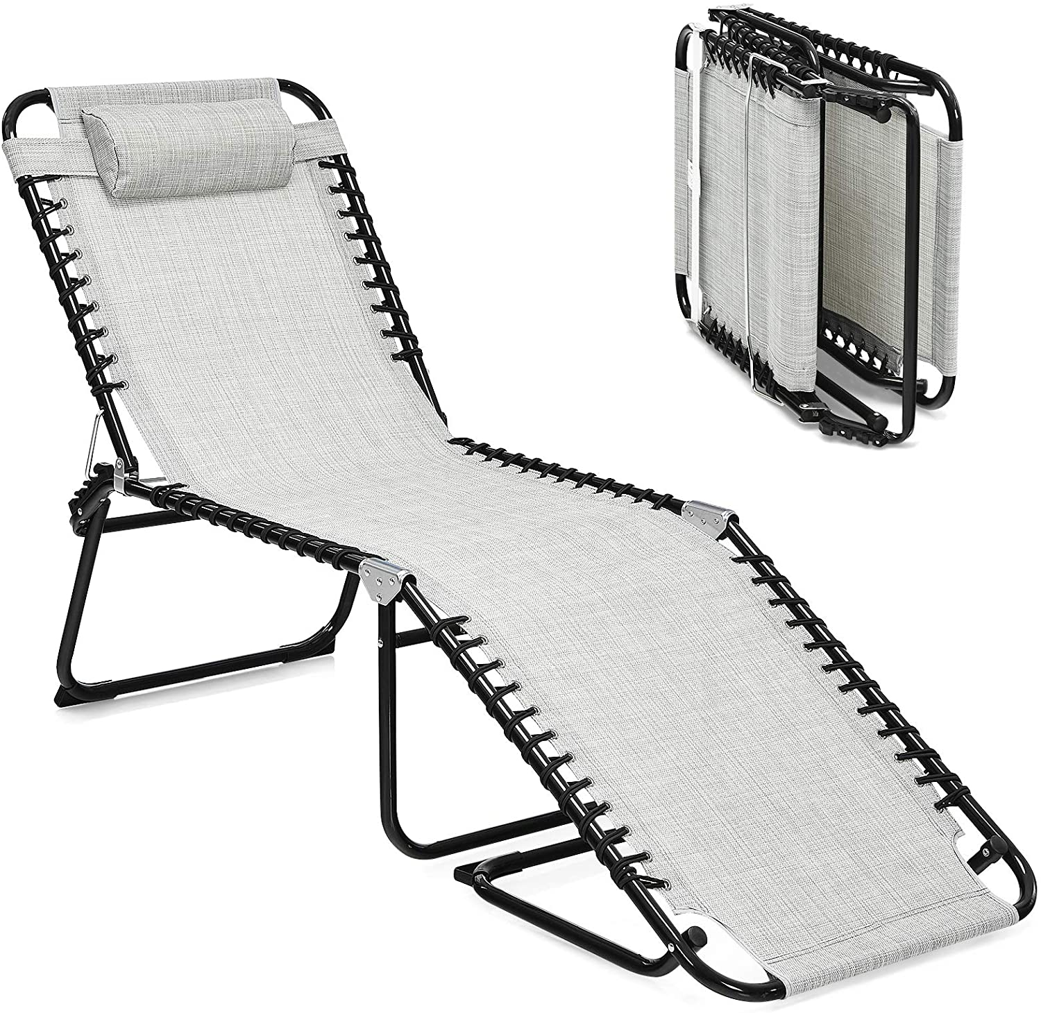 GYMAX Adjustable Chaise Lounge service Patio Folding New popularity Reclin Lightweight