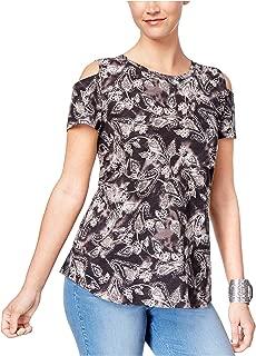 Style & Co. Women's Cotton Cold-Shoulder T-Shirt Black/White Combo Medium