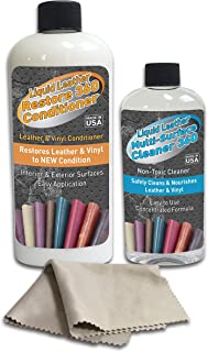 Liquid Leather Cleaner-360 and Restore-360 Conditioner Kit, Natural Moisture Supple Dressing for Leather Care, Auto, Furniture, Shoes, Bags, Accessories, Anything Leather and Vinyl