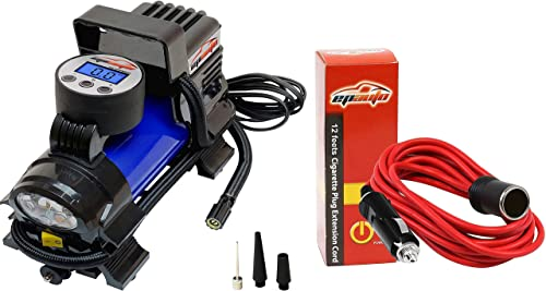 new arrival EPAUTO 12V sale DC Portable Air Compressor Pump, Digital 2021 Tire Inflator + 12' Foot Heavy Duty Extension Cord with Cigarette Lighter Plug Socket outlet sale