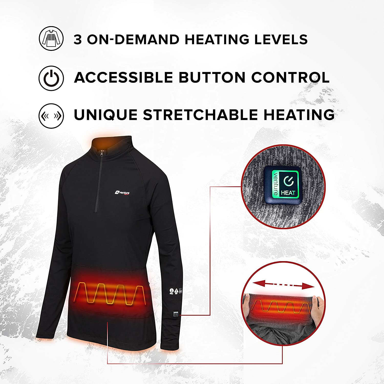 Venture Heat beheiztes Damenhemd mit Batterie elektrisch beheizte Kleidung Unterhosen Unterw/äsche