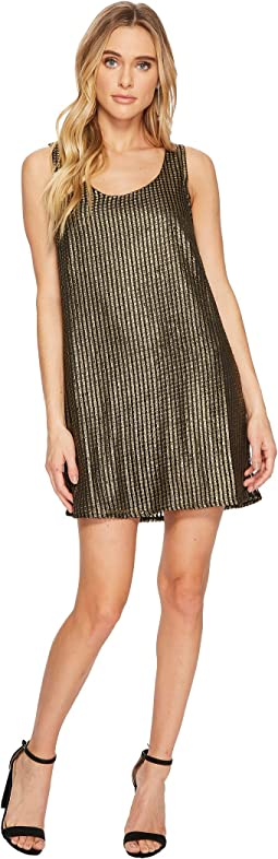Tawny Metallic Mesh Shift Dress