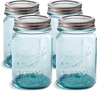 Ball Aqua Canning Jars 16 oz Regular Mouth - Set of 4 Vintage Mason Jars Aqua-colored glass with Airtight lids & Bands - DIY crafts & Decor - Safe For Canning, Pickling, Storage + SEWANTA Jar Opener