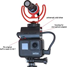 ANLASSER Microphone Mount for GoPro Hero 7, 6, 5 and Housing for Mic Adapter, Works with Original GoPro Case with Universal Cold Shoe Adapter