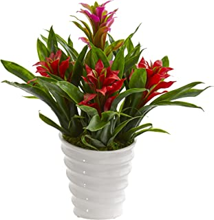 Nearly Natural Bromeliad Artificial Plant in White Vase, Red