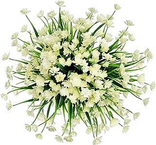 Zonlong Artificial Flowers, 4 Bundles White Fake Flowers Plant, UV Resistant No Fade Faux Flower, Hanging Plant, For Garden, Wedding, Farmhouse Indoor or Outdoor etc Decor