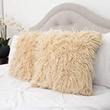 Sweet Home Collection Decorative Throw Pillows Set of 2 Mongolian Long Hair Faux Fur Accent Soft and Fuzzy Cushion, Cream