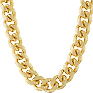 Lifetime Jewelry 11mm Cuban Link Chain Necklace for Men & Teen 24k Gold Plated with Free Lifetime Replacement Guarantee