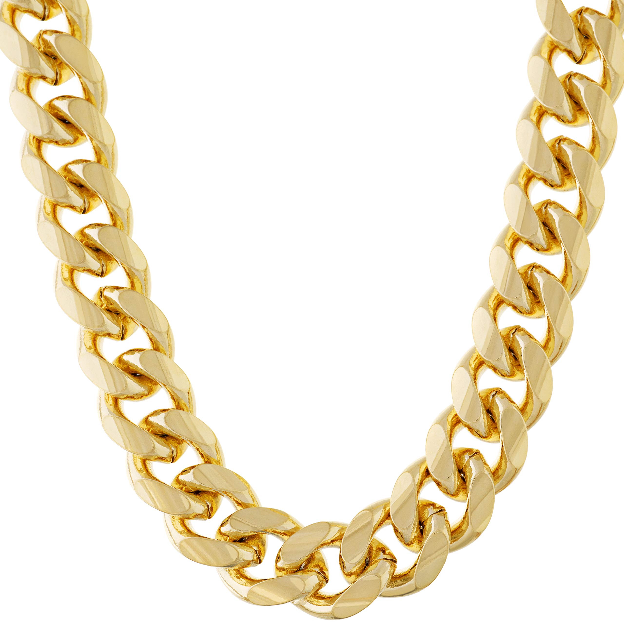 11mm Miami Curb Cuban Link Chain Necklace 24k Real Gold Plated