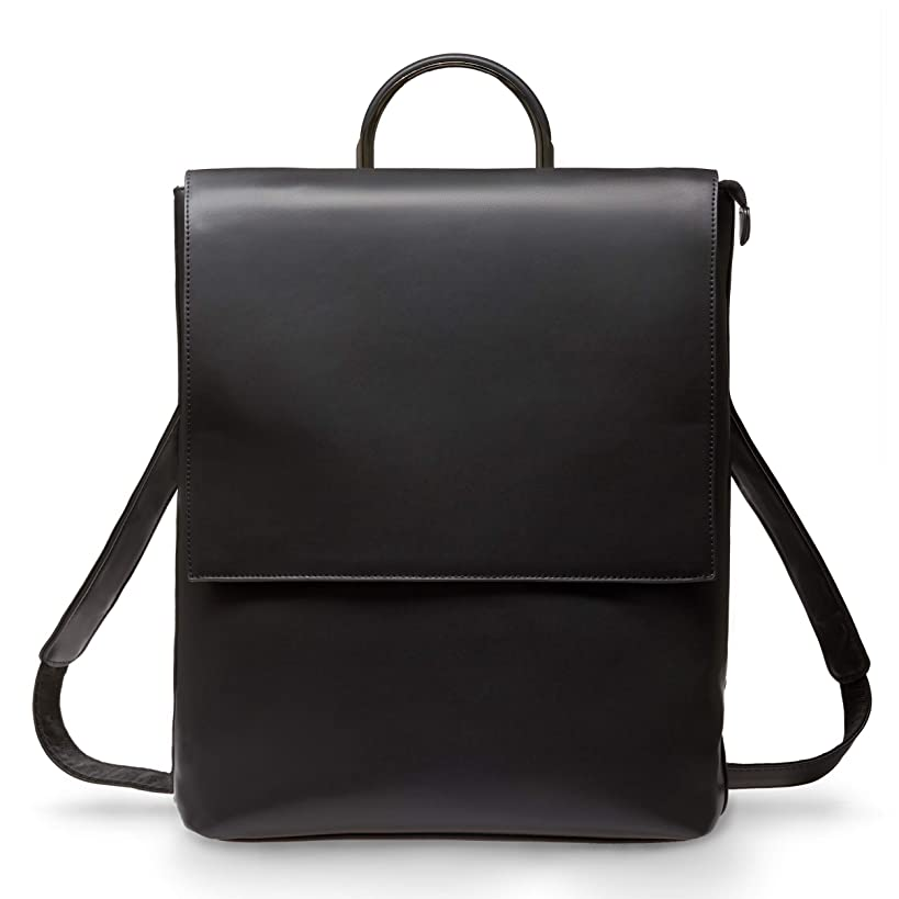 BRESCONI Laptop Backpack for Women - Fits up to 15.6 inch Computer/Notebook - Vegan Leather Slim Business Bag for Ladies - Perfect Rucksack for Carrying Office, College & School Accessories (Black)