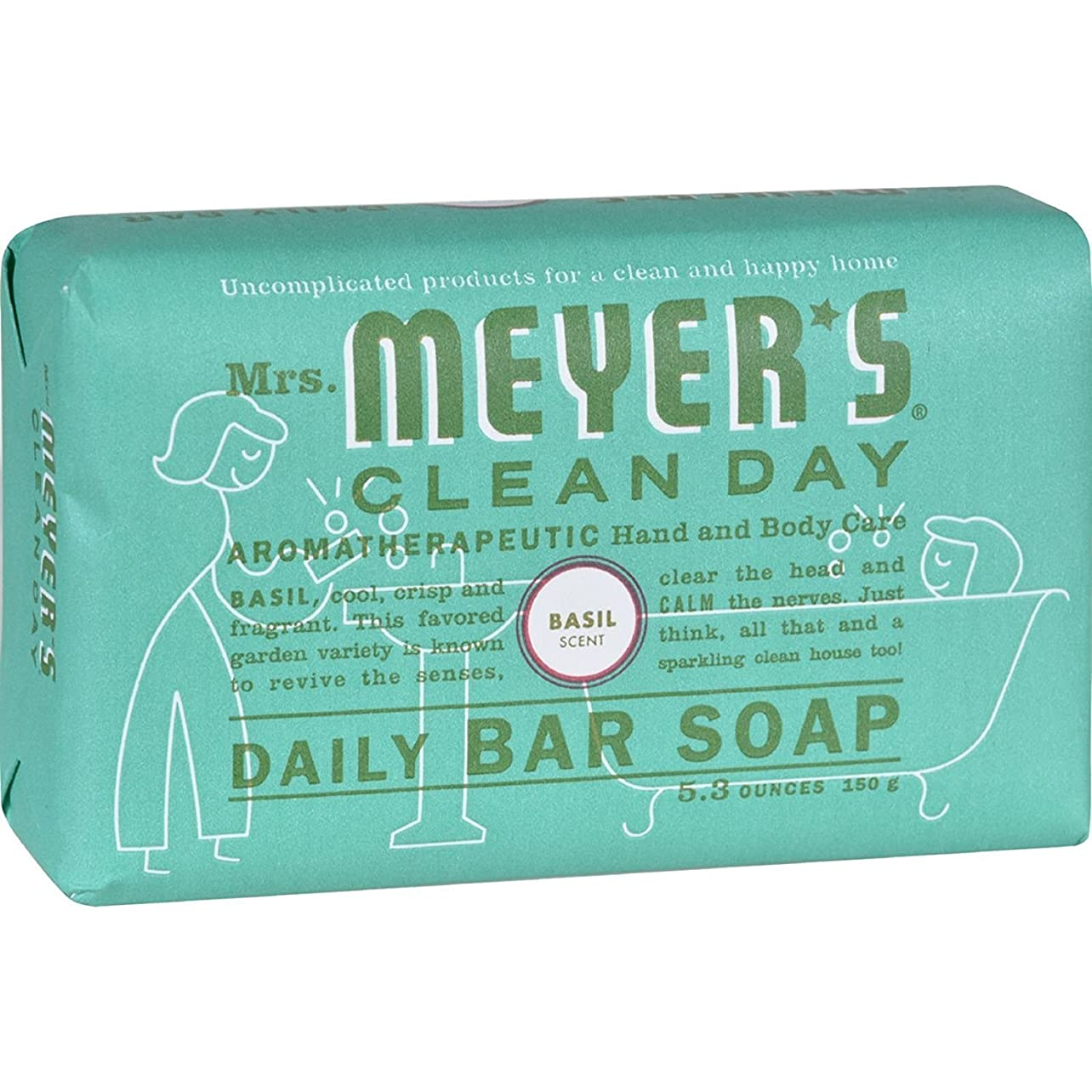 宴会幼児ポーンMrs. Meyer's Bar Soap - Basil - 5.3 oz by Mrs. Meyer's Clean Day