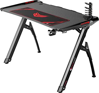 Remson Gaming Desk for Gaming Desktop Compatible with Playstation Xbox with RGB LED Gaming Desk Table for PC Gamer and Con...