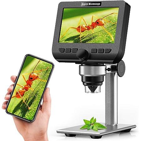 [最新進化版] 液晶デジタル顕微鏡,YINAMA WIFI 4.3インチ200万画素 1080P解像度 マイクロスコープ 1000倍拡大倍率 8つ調節可能ledランプ 撮影録画可能 拡大鏡 Android 4.4/iOS 9.0/Win/7/8/10/MacOSX 10.8またはそれ以上のバージョン 1年間保証