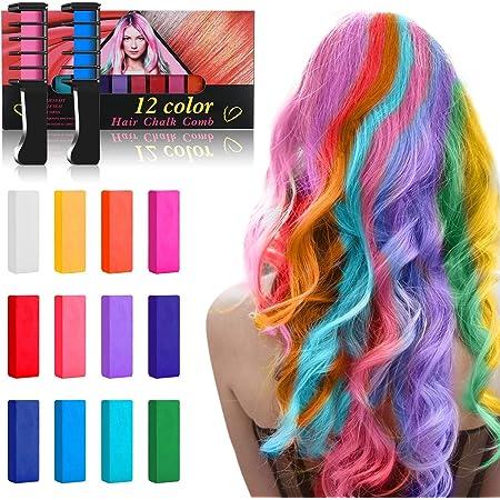 Tiza para el pelo,12 colores temporales de cabello,perfectos ...