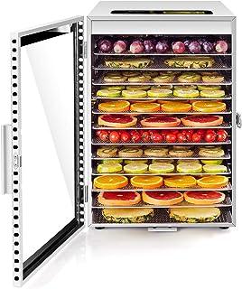 Kwasyo Deshydrateur Alimentaire avec 12 Plateaux Inox, Séchage efficace à 360 ° double ventilateur, Desydratateur Minuteri...