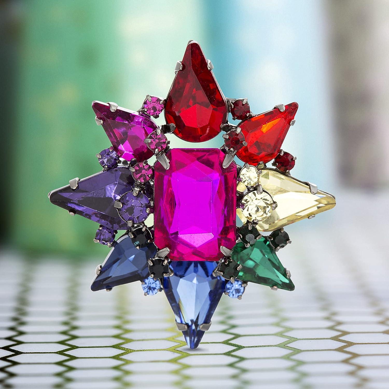 Steve Madden Rainbow Rhinestone Star Shaped Ring for Women