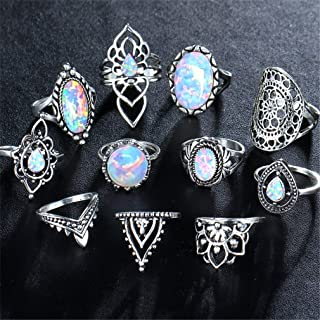 Iumer 11Pcs Natural Opal Diamond Ring Set Vintage Finger Rings Set