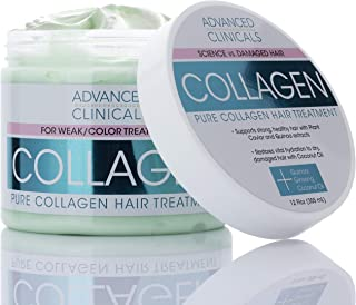 Advanced Clinicals Collagen Hair Treatment Mask Protein Deep Conditioner to Strengthen Broken, Color-Treated Hair Fortifying Repair Mask with Quinoa and Coconut Oil Restores Weak Hair, 12 oz.
