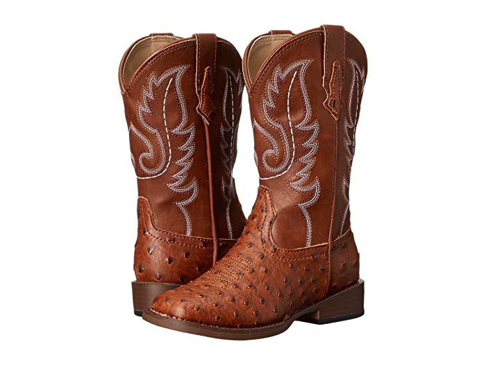 Roper Kids  Faux-Leather Ostrich Print (Toddler/Little Kid) (Tan) Cowboy Boots