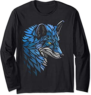 Tribal beautiful Blue Fox Long Sleeve T-Shirt