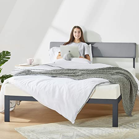 Amazon Com Mellow Kera Metal Platform Bed With Angled Upholstered Headboard Solid Wooden Slats Easy Assembly Twin Classic Grey Bbpb Bkt Black Furniture Decor