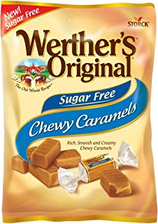 WERTHER'S ORIGINAL Sugar Free Chewy Caramels, 2.75 Ounce Bag (Pack of 12), Bulk Candy, Individually Wrapped Candy Caramels, Caramel Candy Sweets, Bag of Candy