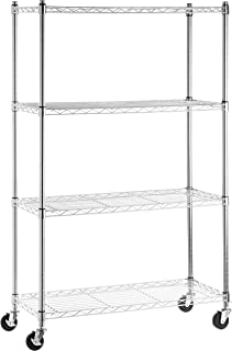 AmazonBasics 4-Shelf Shelving Storage Unit on 3'' Wheel Casters, Metal Organizer Wire Rack, Chrome Silver (36L x 14W x 57.75H)