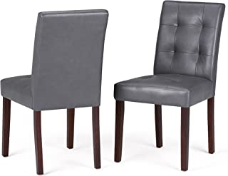 Simpli Home AXCDCHR-004-G Andover Contemporary Parson Dining Chair (Set of 2) in Stone Grey Faux Leather
