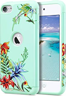 ULAK iPod Touch 7 Case, iPod Touch 6 Case, Slim Fit Protective Hybrid Dual Layer Soft Silicone and Hard Back Cover for Apple iPod Touch 5 5th/6th/7th Gen, Mint+Tropical Flower