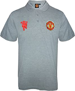 Manchester United FC Official Soccer Gift Mens Crest Polo Shirt Grey XL