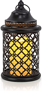 VP Home Decorative Flickering Flameless LED Candle Lantern with Remote Control, Metal, Wood, Black, 11 x 5.25