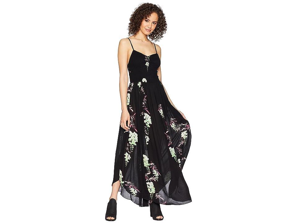 70f678f6647be Free People Beau Smocked Printed Slip (Black Combo) Women