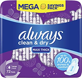 Always Clean & Dry Maxi Thick Large Sanitary Pads with Wings, 72 Pads