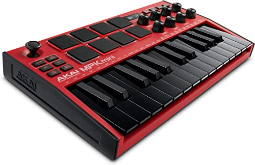 AKAI Professional MPK Mini MK3 Red - Teclado controlador MIDI USB de 25 teclas, 8 drum pads, 8 perillas y software de...