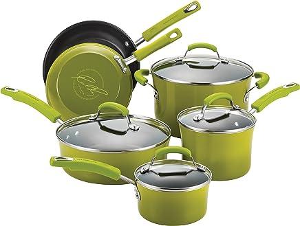 Rachael Ray Classic Brights Hard Enamel Nonstick 10-Piece Cookware Set, Green Gradient