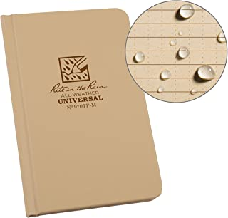 "Rite in the Rain Weatherproof Hard Cover Notebook, 4.25"" x 6.75"", Tan Cover, Universal Pattern (No. 970TF-M)"