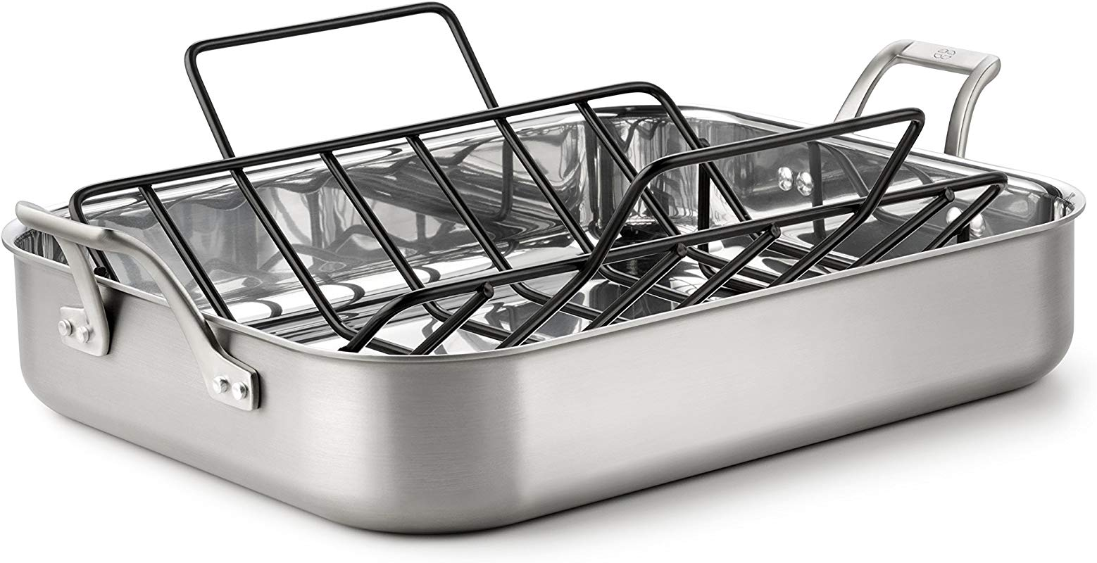 Calphalon 1833931 AccuCore Stainless Steel Roaster With Rack 16 Inch