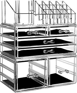 Cq acrylic Clear Makeup Organizer And Storage Stackable Large Skin Care Cosmetic Display Case With 6 Drawers Make up Stand...
