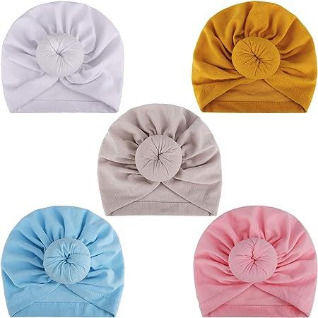 MaoXinTek Bébé Turban Bonnet Hôpital Bebe en Coton Chapeau, Toddler Enfants Fille Bandeaux Noeuds Casquettes pour 3-24 Mois Nouveau-né(5 Pcs)