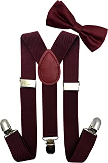 Odizli Kids Boys Suspenders and Bow Tie Set with Matched Hat Y-Back Adjustable Elastic 4 Strong Clips Braces 2-6 Years