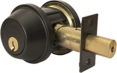 Master Lock DSCHDD10B Heavy Duty Double Cylinder, Grade 2 Commercial Deadbolt with Bump Stop, Oil Rubbed Bronze Finish