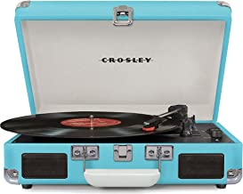 Crosley Cruiser Deluxe Vintage 3-Speed Bluetooth Suitcase Turntable, Turquoise