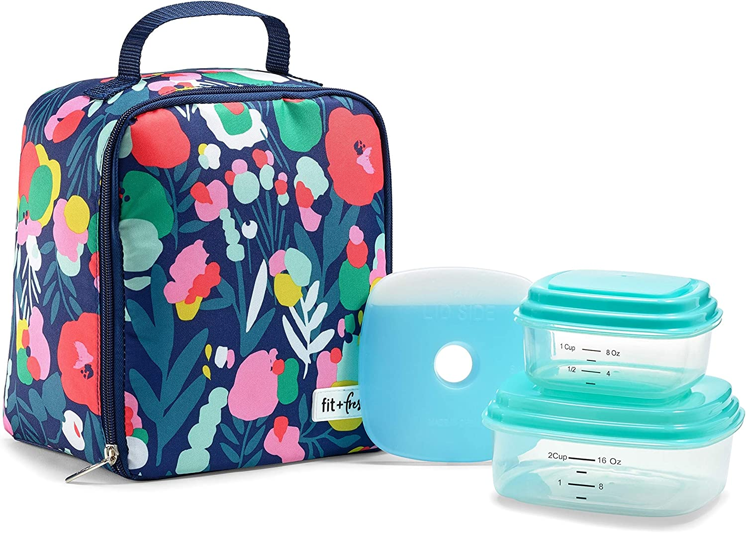 """Fit & Fresh Saybrooke Insulated Lunch Bag Kit, 8"""" x 6"""" x 10"""", Floral Paint Splatter Navy"""