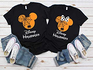 Disney Halloween T-Shirts Matching Vacation Apparel Shirts for Family Men Women Boys Girls Baby Spiderweb Mickey Minnie Ears Orange Black